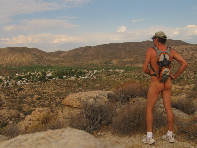 Nude hiker above Deanza Springs Resort