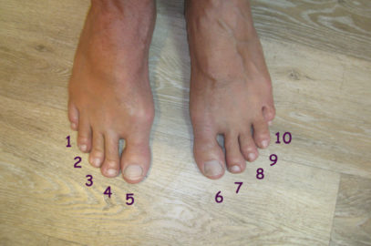 Feet with numbers by toes