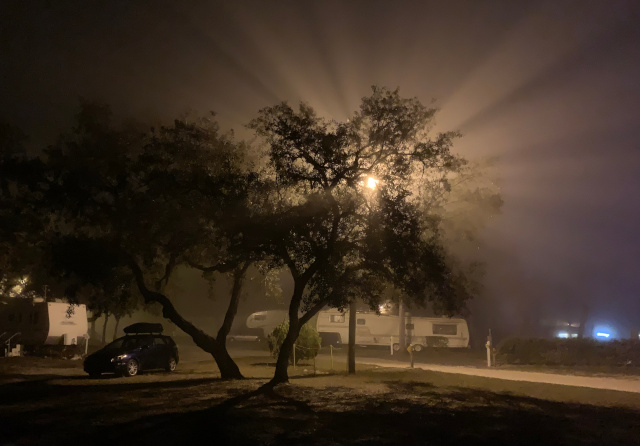 Foggy night at Eden RV resort in Florida