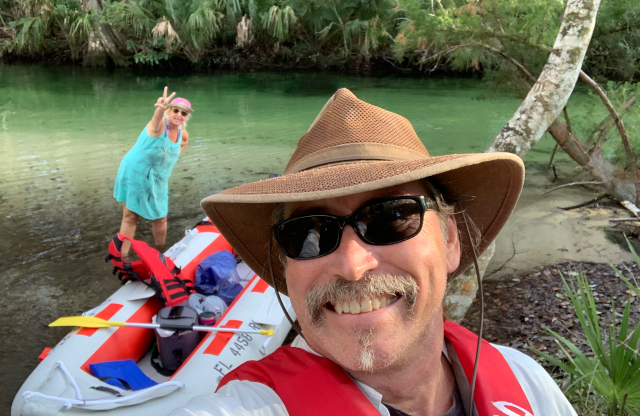 S and J with boat on Weeki Wachee River