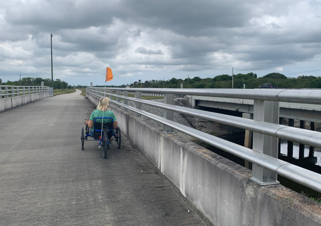 Recumbent trike on Okeechobee bike path Florida