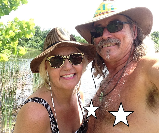 Nomadic Nudists in Oklahoma by lake