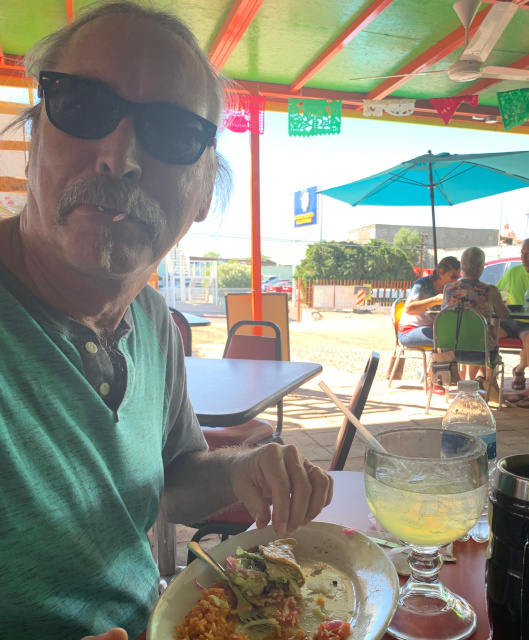 Eating tacos sloppily in Algodones