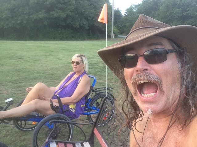 Nomadic Nudists at Oaklake Trails with bike