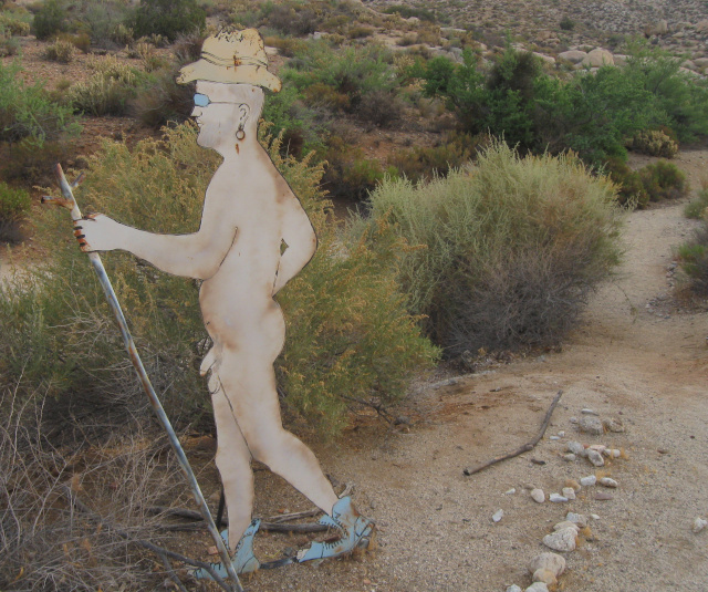Naked hiker sign at Deanza Springs resort