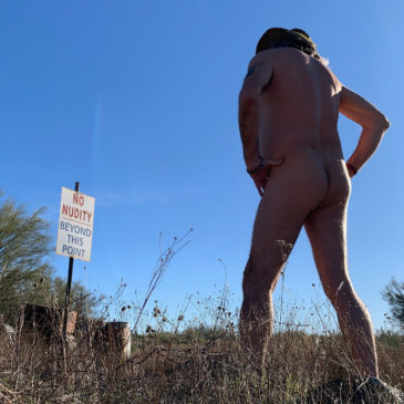 Signs you're in clothing optional territory.