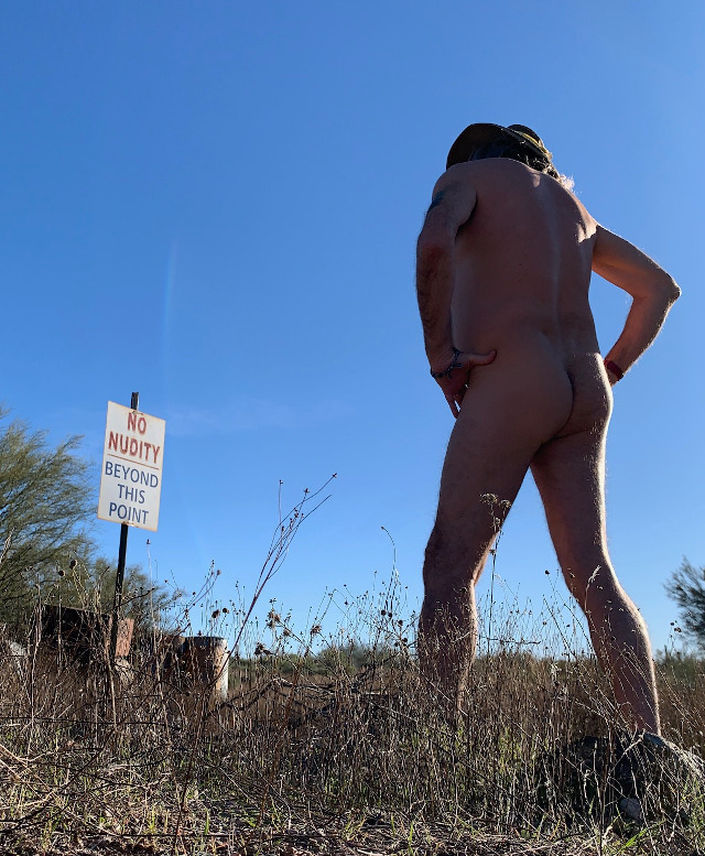 No nudity sign at Shangri La Ranch