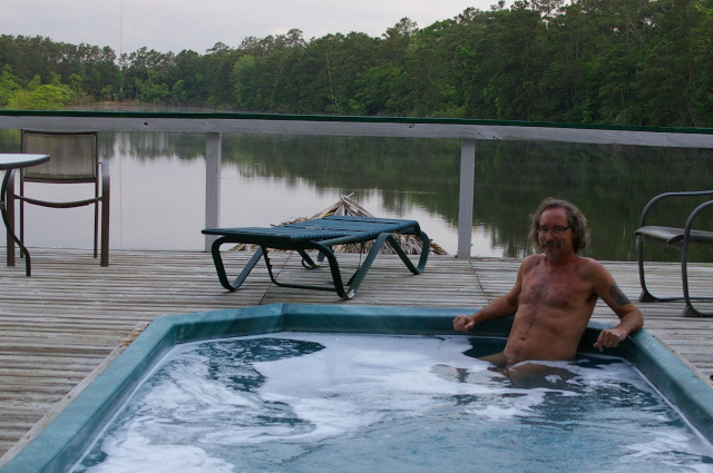 S in hot tub at Emerald Lake Naturist Park