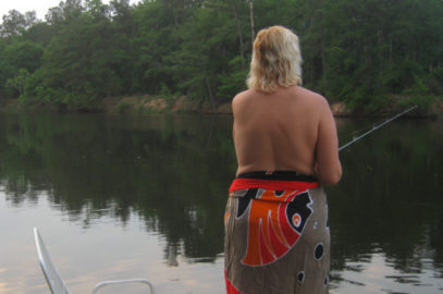 J fishing at Emerald Lake Nudist Park