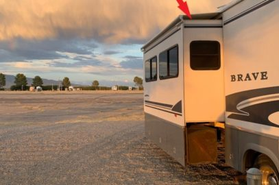 RV slide out with wasp nest location