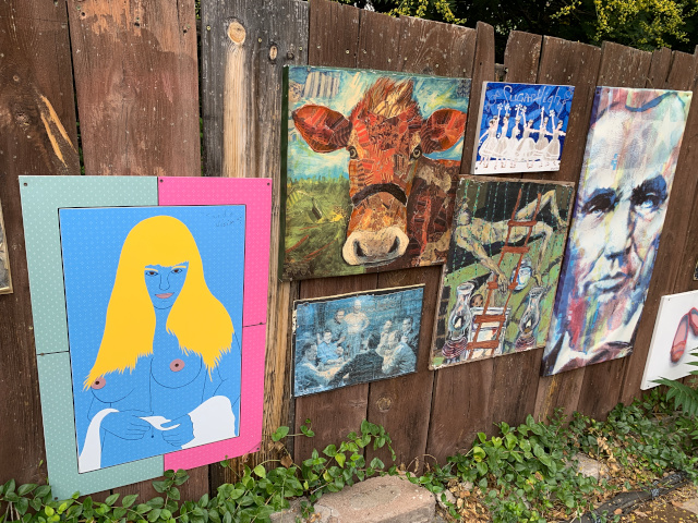 Nude and other paintings in Bisbee alley